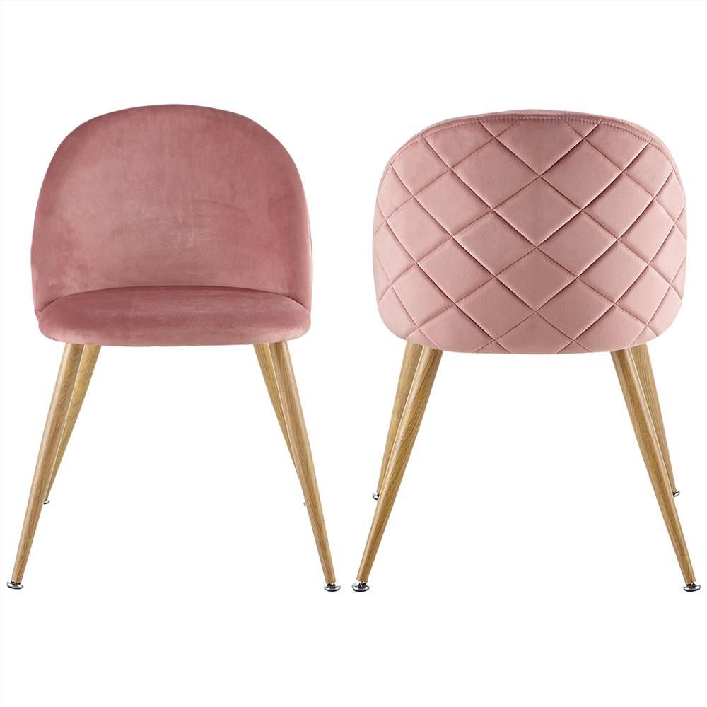 Ensemble de 2 chaises de salle à manger avec coussin en velours, réglable en hauteur avec pieds en métal pour cuisine, salon, chambre à coucher, bureau - Rose
