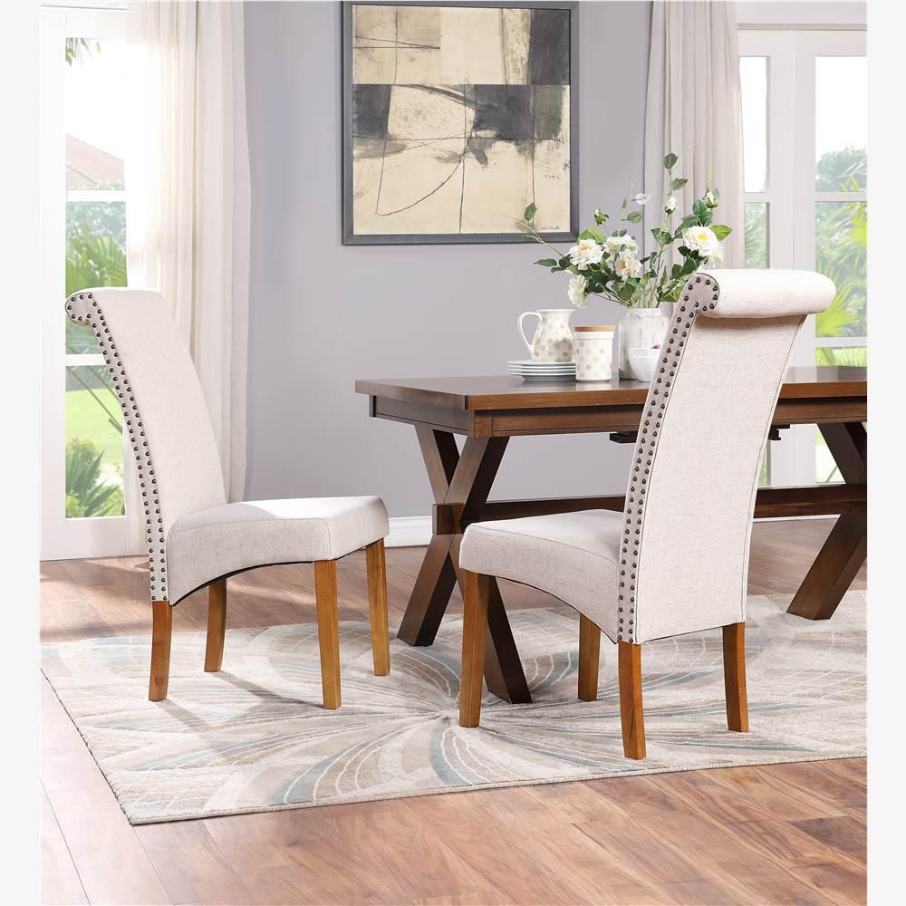 Ensemble de 2 chaises de salle à manger rembourrées en lin TOPMAX, avec cadre en bois et pieds en bois massif, pour cuisine, chambre à coucher, salon - Beige