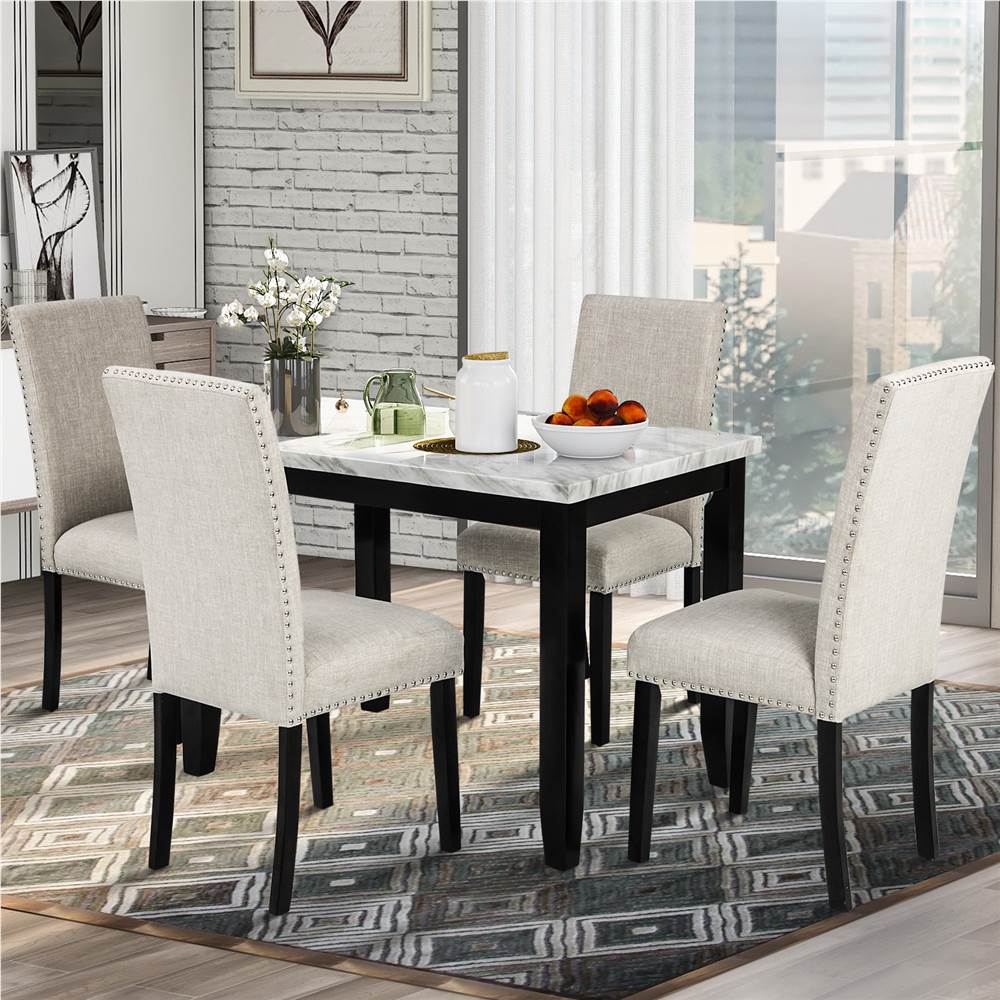 TREXM 9 Pieces Faux Marble Dining Table Set with 9 Thicken Cushion Chairs,  for Kitchen, Living Room, Bedroom, Office   Beige