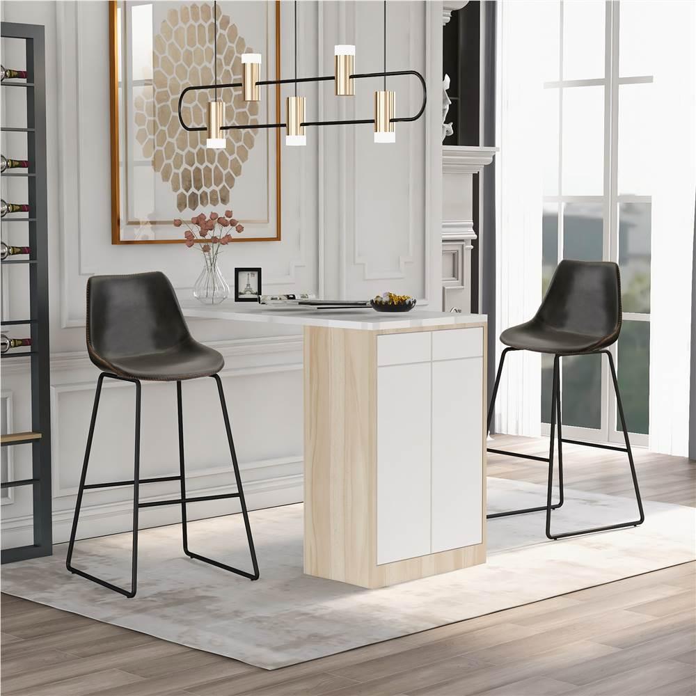 Ensemble de 2 chaises de salle à manger en cuir sans accoudoirs vintage TREXM, avec dossier et repose-pieds pour cuisine, salon, aire de repos, bureau, café - gris