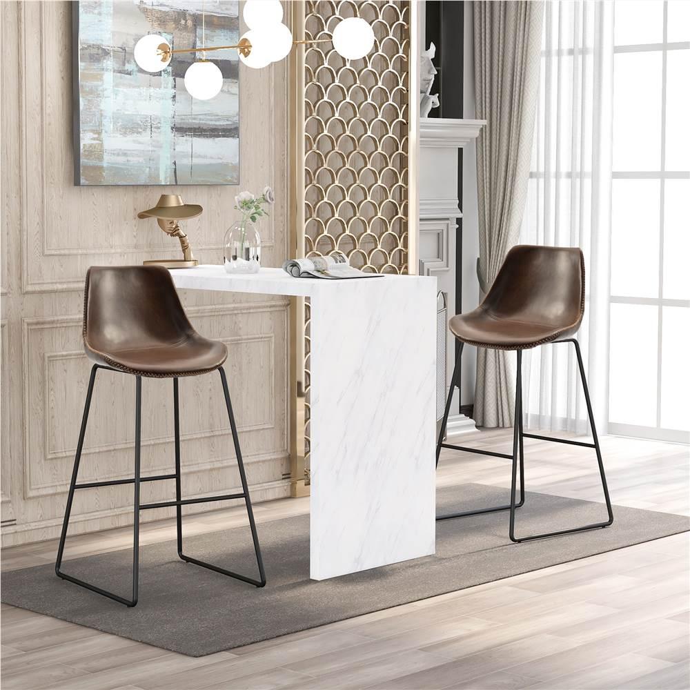 Ensemble de 2 chaises de salle à manger vintage en cuir sans accoudoirs TREXM, avec dossier et repose-pieds pour cuisine, salon, aire de repos, bureau, café - marron clair