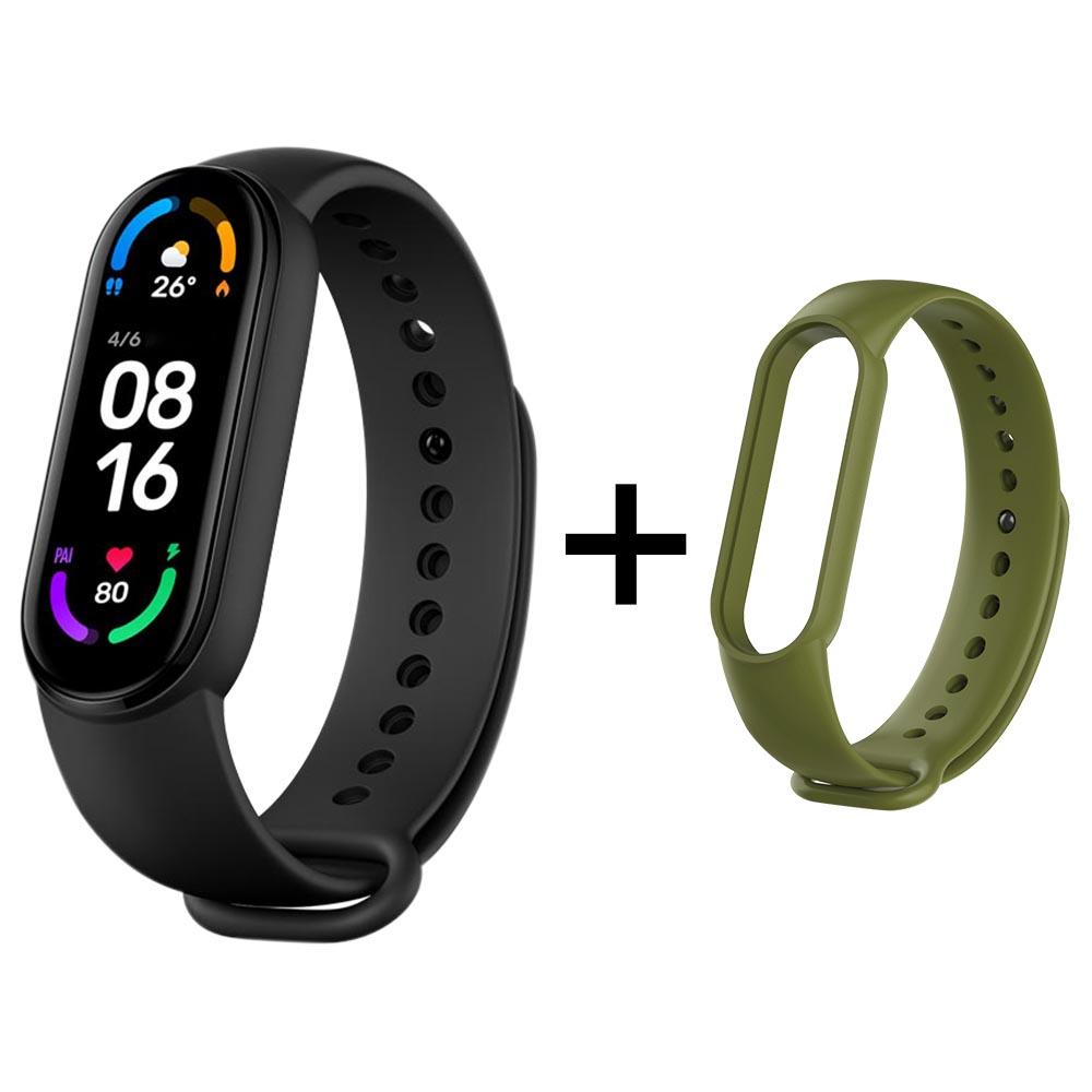 Xiaomi Mi Band 6 Smart Bracelet Heart Rate Oximetry Monitor 1.56 inch Screen Bluetooth 5.0 50 Meters Water Resistance 30 Sports Modes CN Version + Green Replacement Strap