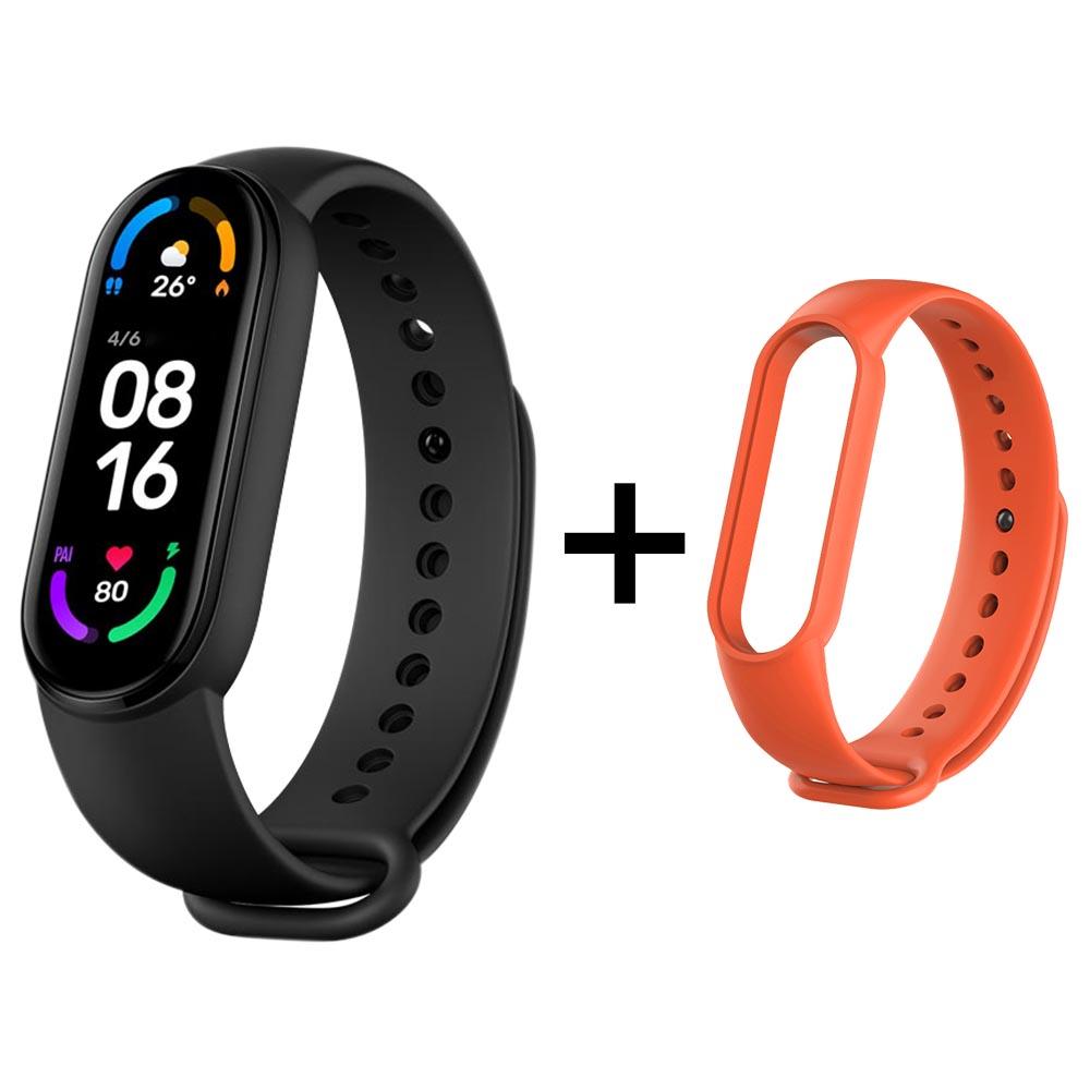 Xiaomi Mi Band 6 Bracelet intelligent Moniteur d'oxymétrie de fréquence cardiaque Écran de 1.56 pouces Bluetooth 5.0 Résistance à l'eau de 50 mètres 30 modes sportifs Version CN + Bracelet de remplacement orange