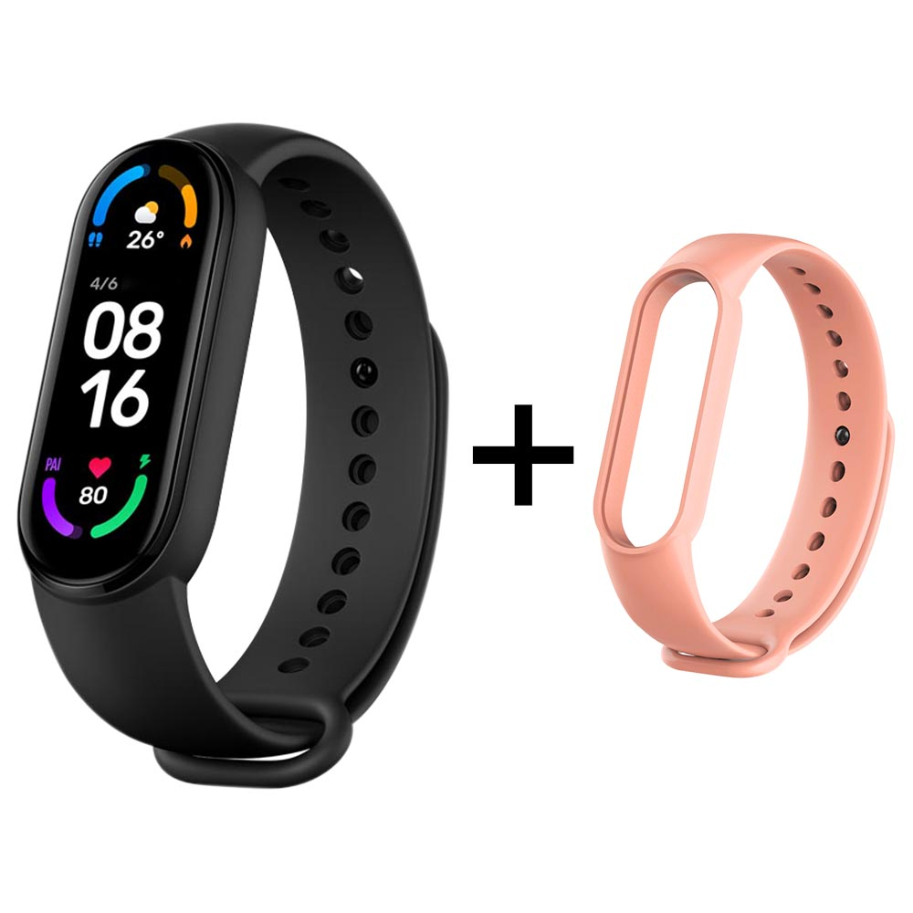 Xiaomi Mi Band 6 Smart Bracelet Heart Rate Oximetry Monitor 1.56 inch Screen Bluetooth 5.0 50 Meters Water Resistance 30 Sports Modes CN Version + Pink Replacement Strap