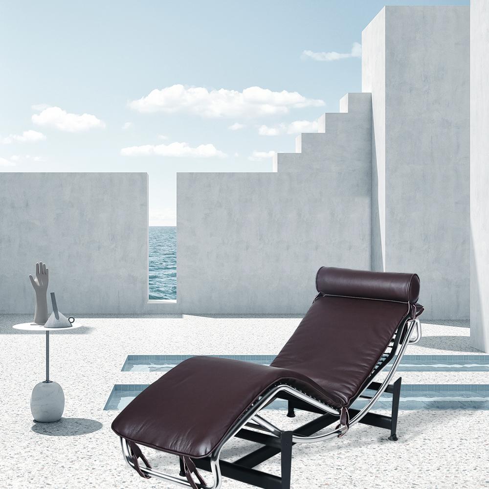 Le Corbusier LC-4 Style inclinable, cadre en acier inoxydable avec appui-tête réglable, pour hôtel, club, villa, salon, salon - brun foncé
