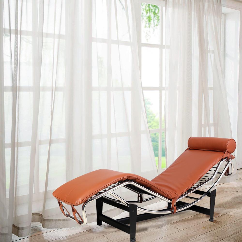 Le Corbusier LC-4 Style inclinable, cadre en acier inoxydable avec appui-tête réglable, pour hôtel, club, villa, salon, salon - marron
