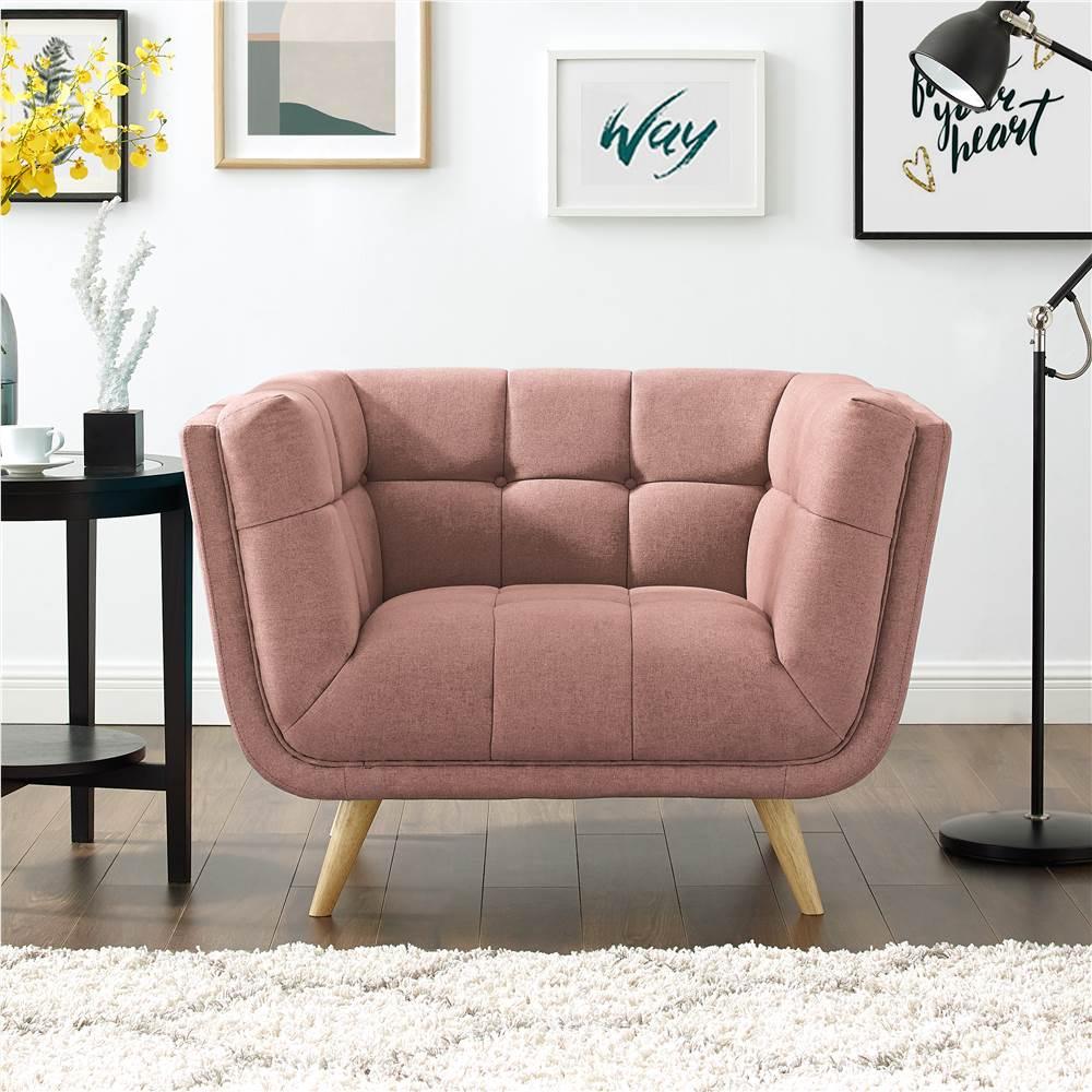Canapé 1 place rembourré en tissu polyester avec pieds en caoutchouc pour salon, chambre, bureau, appartement - rose
