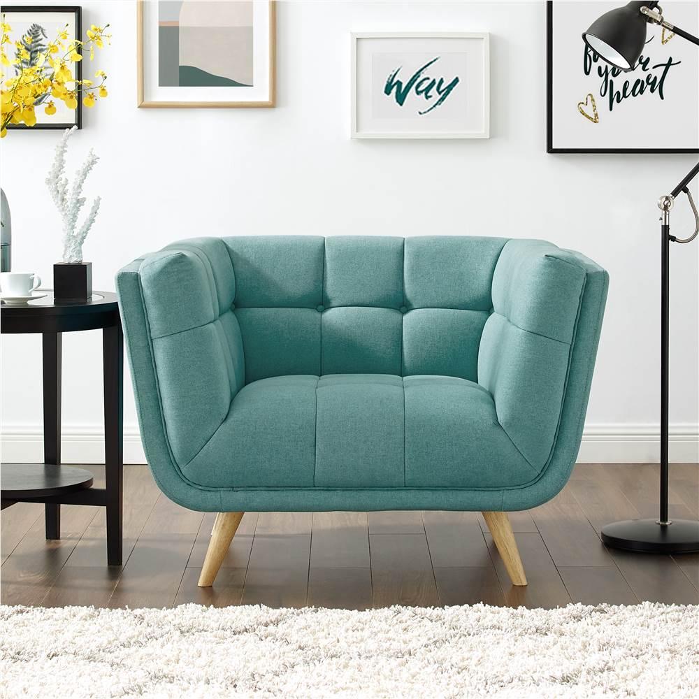 Canapé 1 place rembourré en tissu polyester avec pieds en caoutchouc pour salon, chambre, bureau, appartement - vert