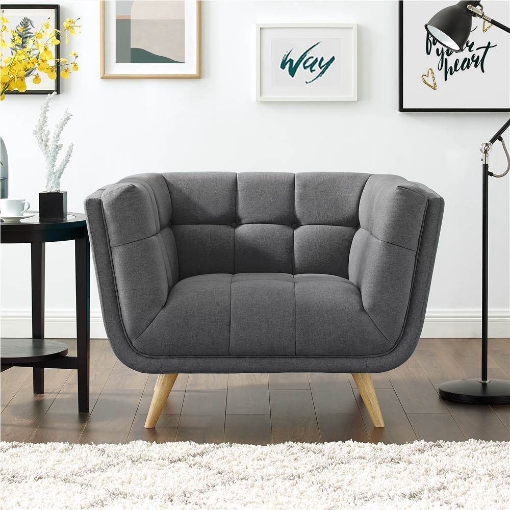 Canapé 1 place rembourré en tissu polyester avec pieds en caoutchouc pour salon, chambre, bureau, appartement - Gris