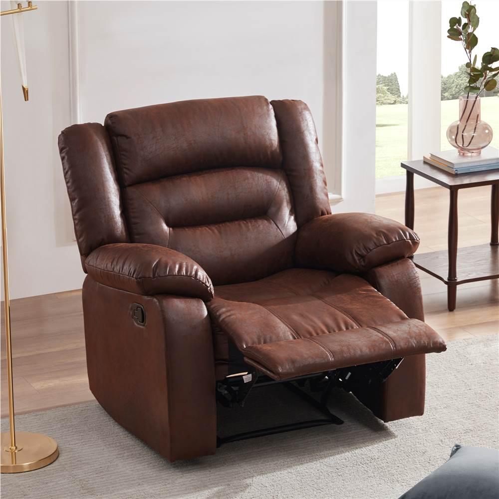 Fauteuil inclinable de massage chauffant en cuir PU Orisfur avec 8 points de vibration pour bureau, cinéma maison, salon - marron