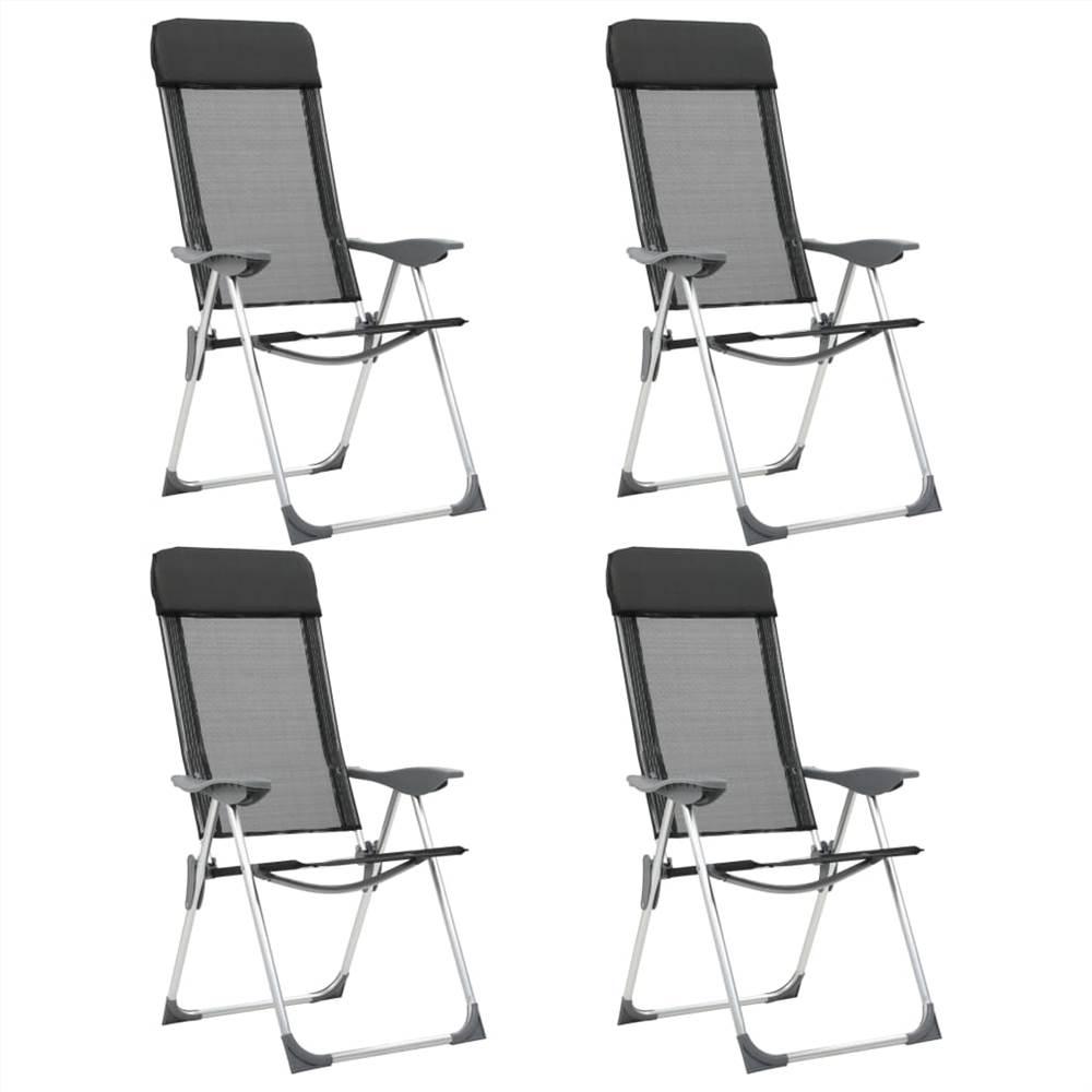 44308 Składane krzesła kempingowe, 4 szt., Czarne aluminium