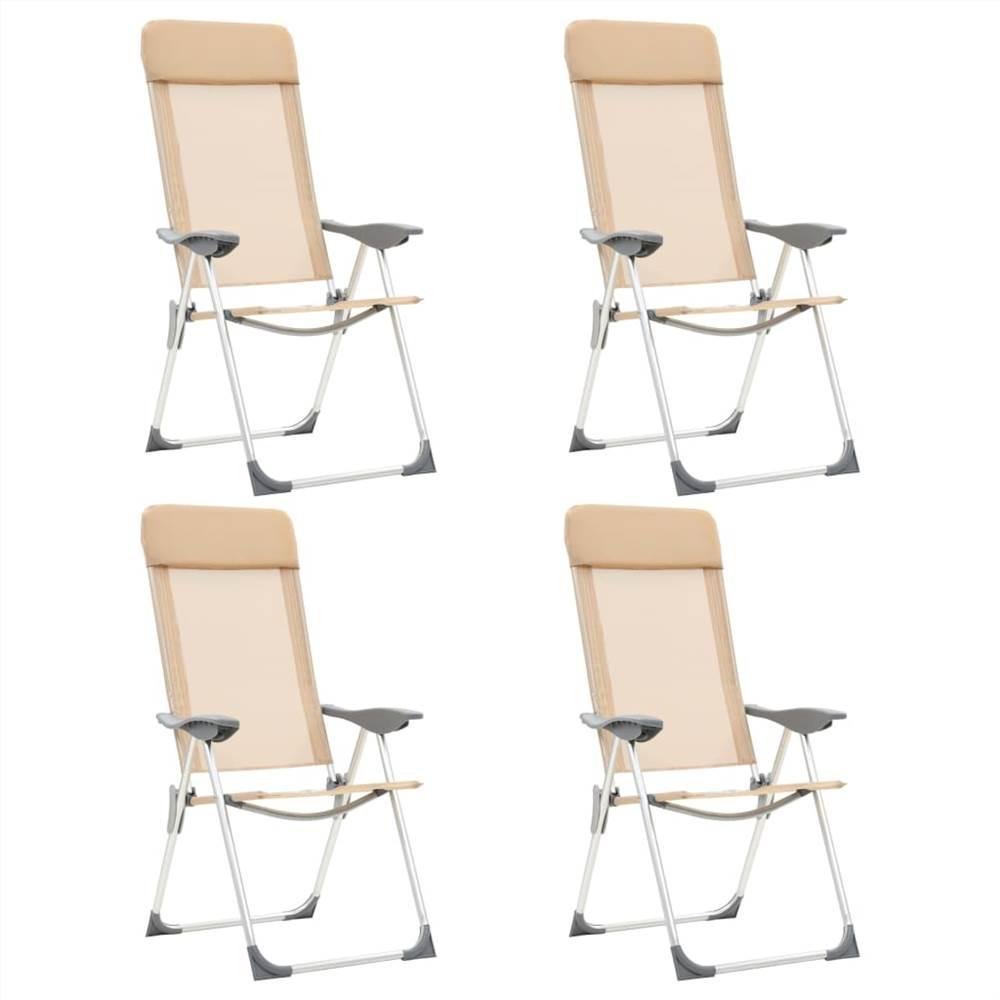 44309 Składane krzesła kempingowe 4 szt. Kremowe aluminium
