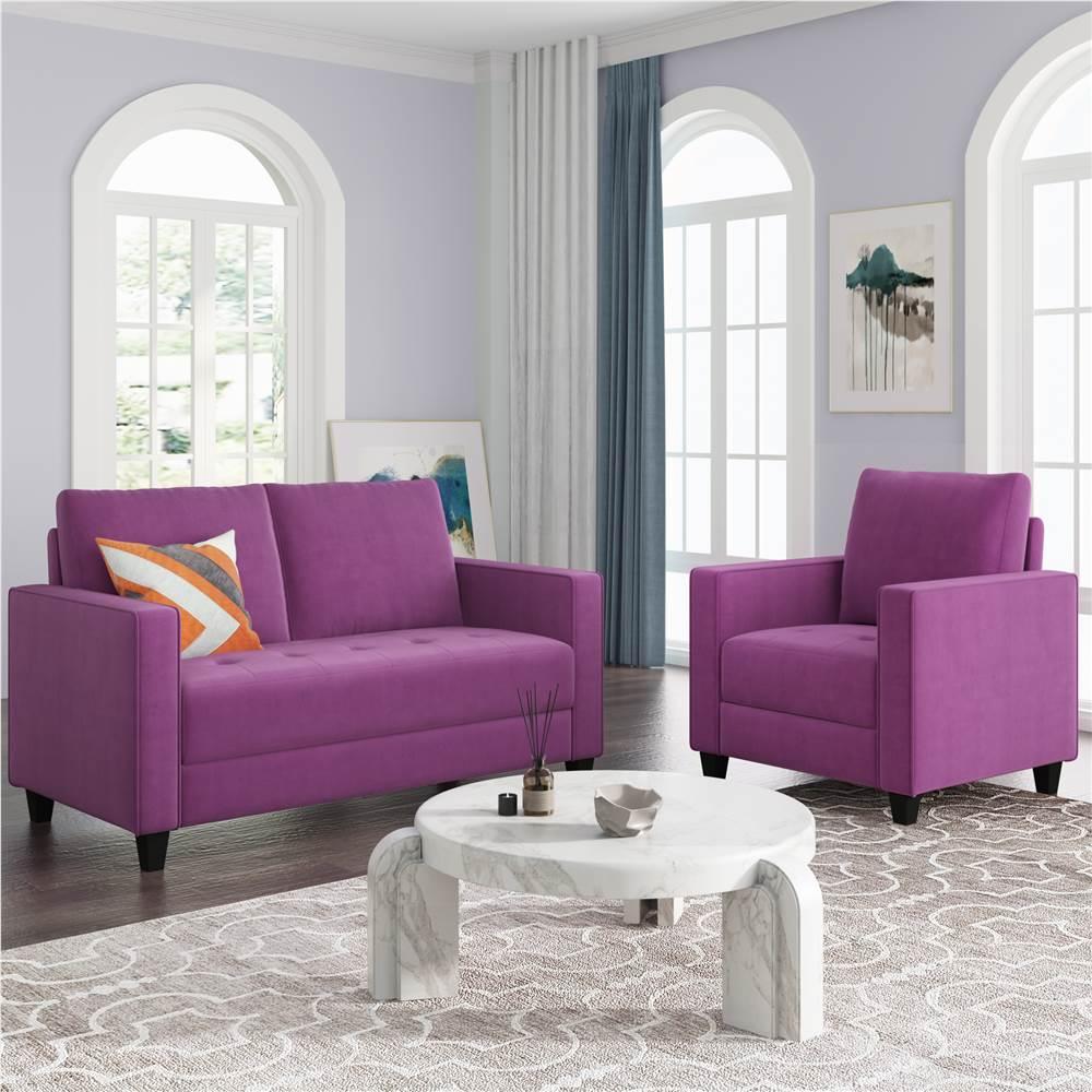 Ensemble de canapé rembourré en velours 2 places + 1 places Orisfur avec accoudoirs et dossier pour salon, chambre, bureau, appartement - Violet