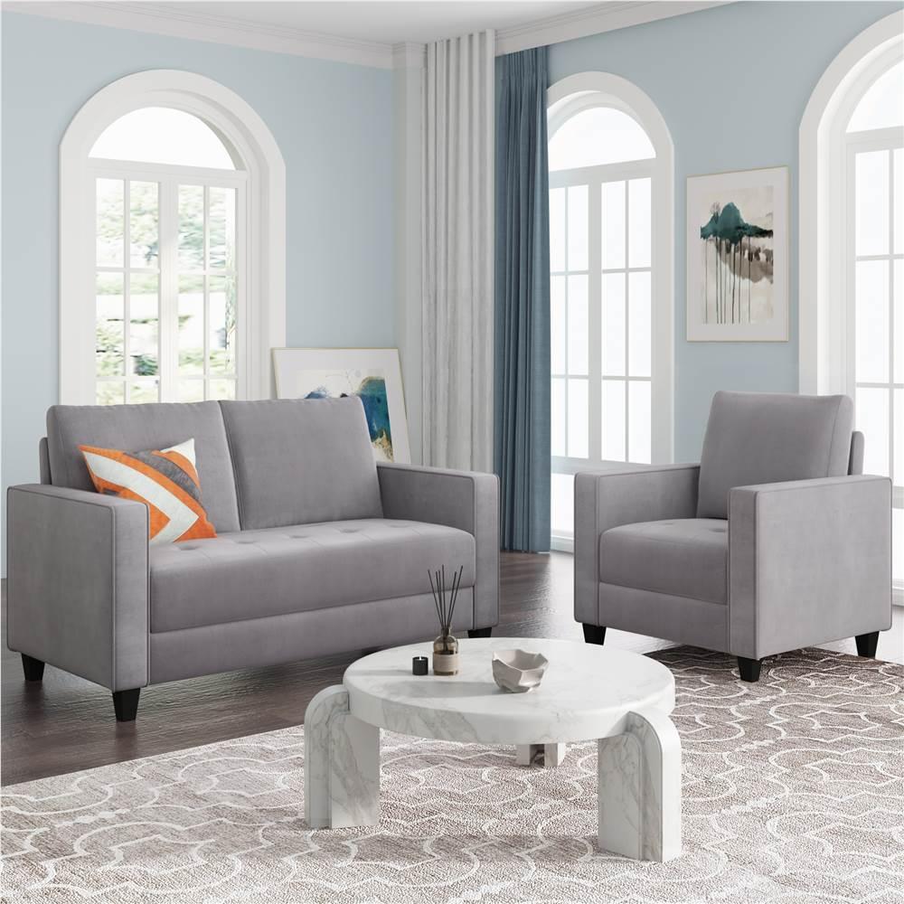 Ensemble de canapé rembourré en velours Orisfur 1 + 2 places avec accoudoirs et dossier pour salon, chambre, bureau, appartement - Gris