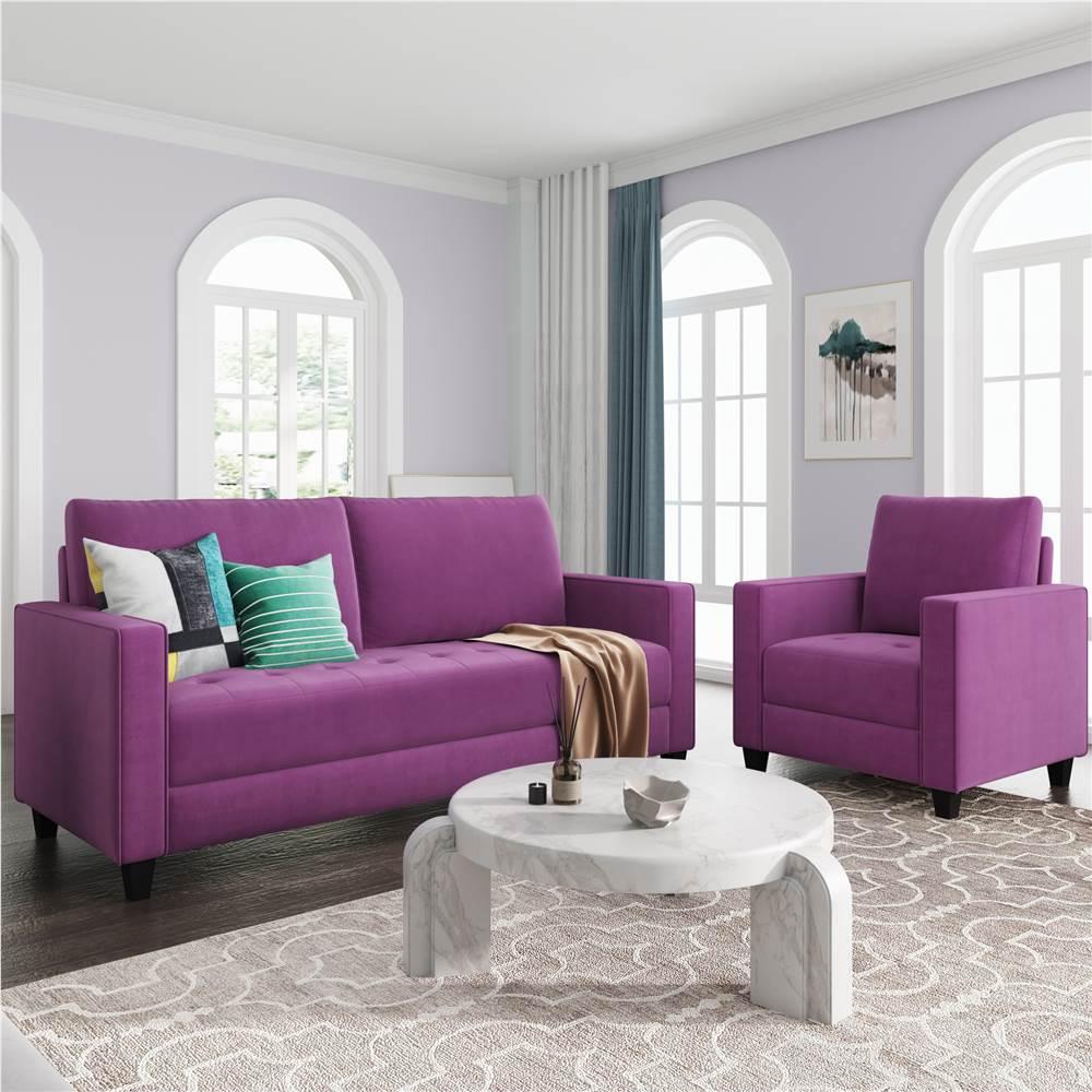 Ensemble de canapé rembourré en velours 3 places + 1 places Orisfur avec accoudoirs et dossier pour salon, chambre, bureau, appartement - Violet