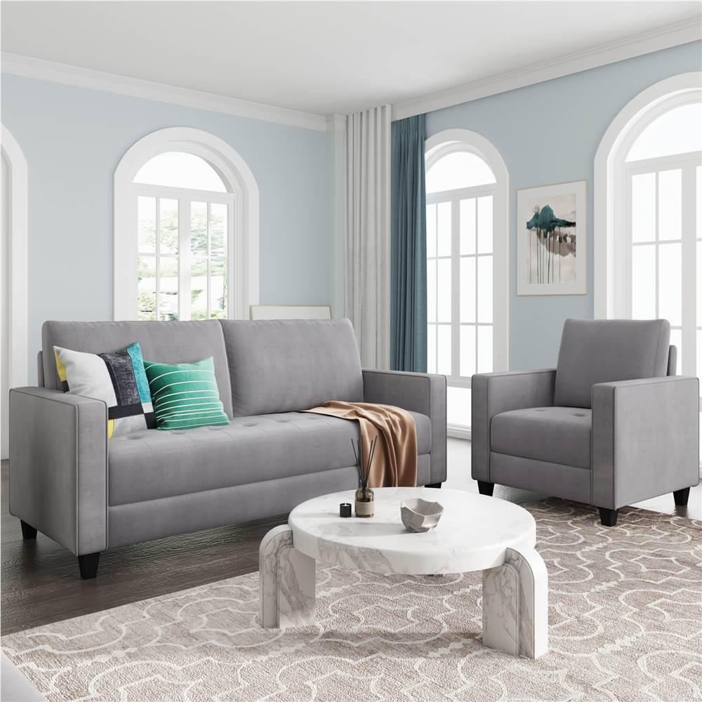 Ensemble de canapé rembourré en velours Orisfur 1 + 3 places avec accoudoirs et dossier pour salon, chambre, bureau, appartement - Gris