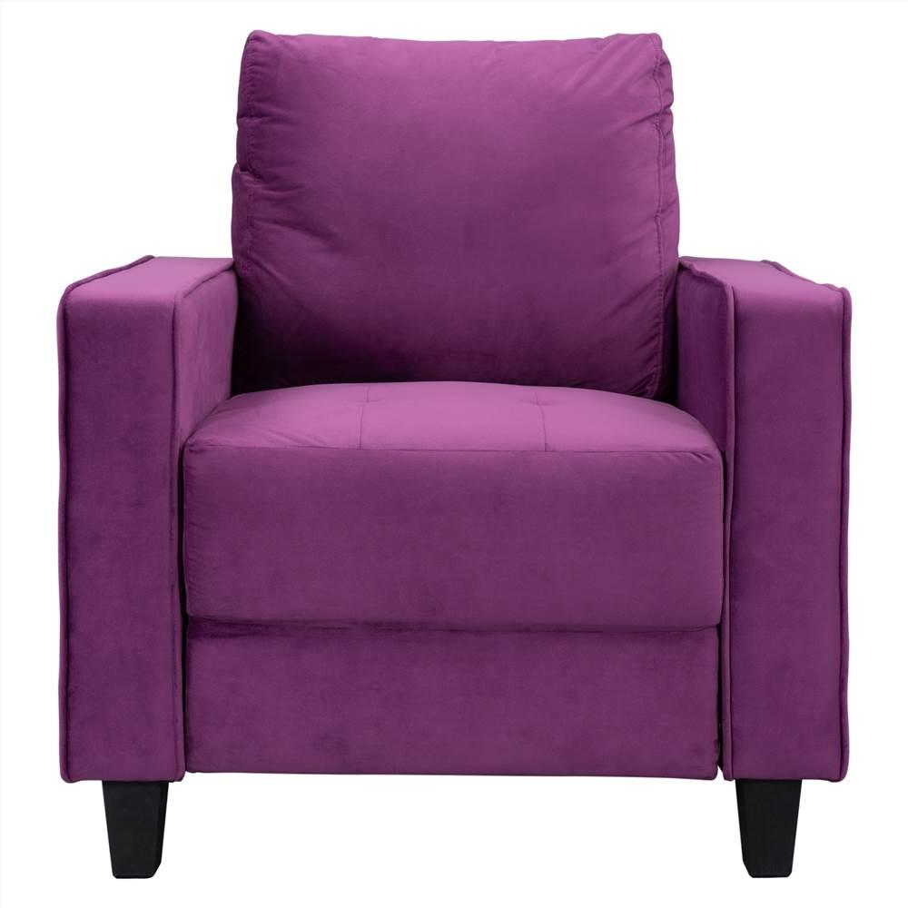 Canapé 1 place rembourré en velours Orisfur avec accoudoirs et dossier pour salon, chambre, bureau, appartement - Violet