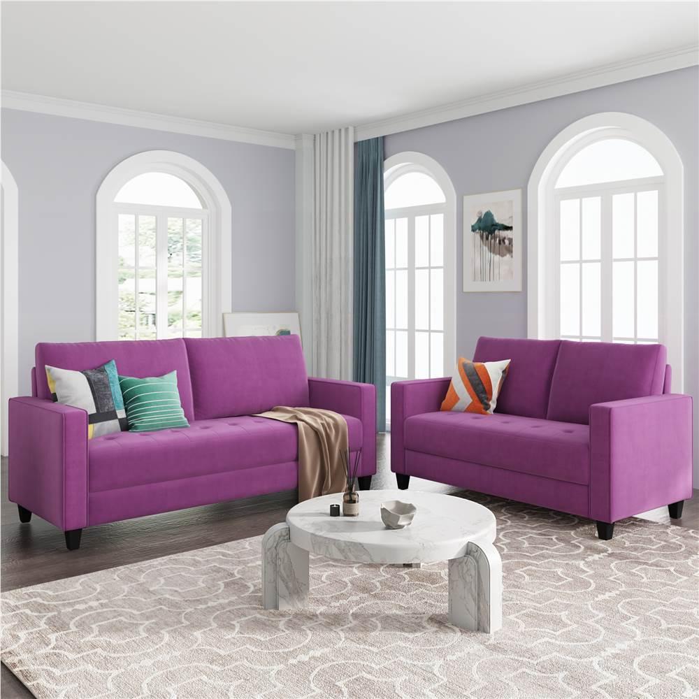 Ensemble de canapé rembourré en velours 3 places + 2 places Orisfur avec accoudoirs et dossier pour salon, chambre, bureau, appartement - Violet