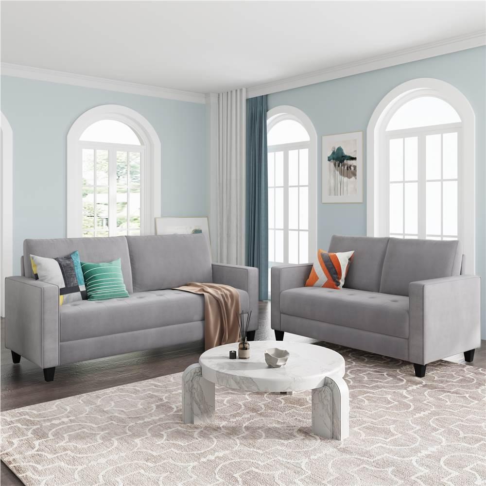 Ensemble de canapé rembourré en velours Orisfur 2 + 3 places avec accoudoirs et dossier pour salon, chambre, bureau, appartement - Gris