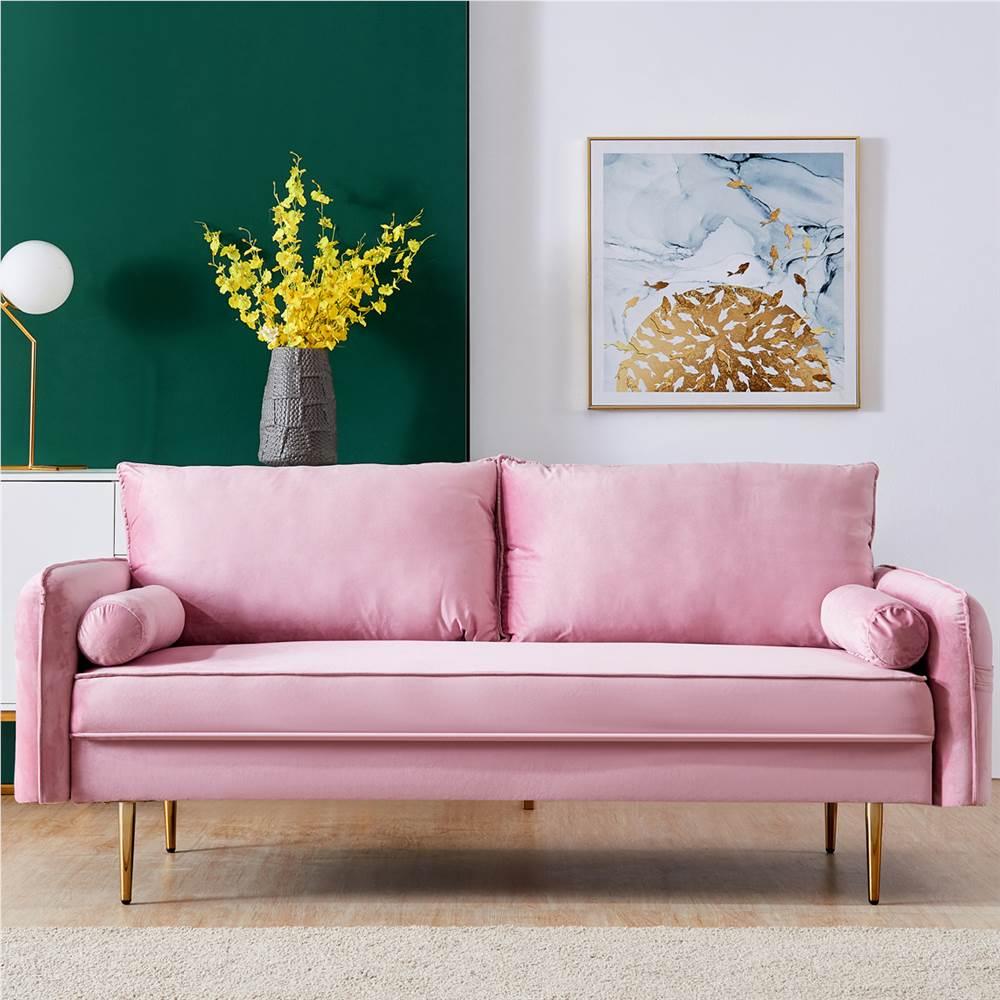 Canapé rembourré en tissu de velours de 71 po avec poche pour accoudoirs pour salon, chambre, bureau, appartement - Rose