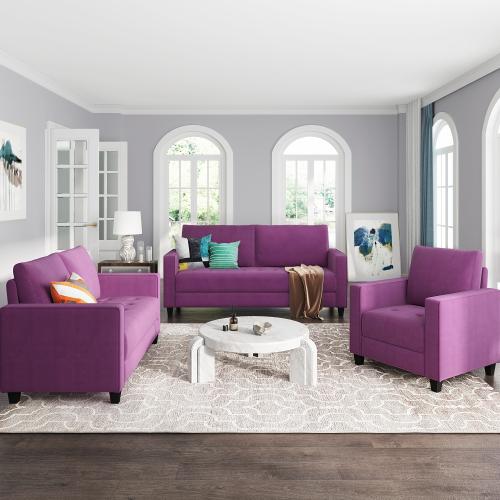 Ensemble de canapé rembourré en velours 3 places + 2 places + 1 place Orisfur avec accoudoirs et dossier pour salon, chambre, bureau, appartement - Violet