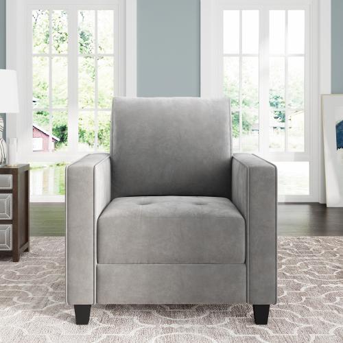 Ensemble de canapé 1 place rembourré en velours Orisfur avec accoudoirs et dossier pour salon, chambre, bureau, appartement - Gris