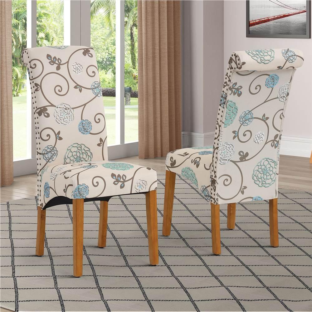 Ensemble de 2 chaises de salle à manger rembourrées en lin, avec dossier et pieds en caoutchouc, pour cuisine, salon, chambre à coucher, bureau, café - fleur