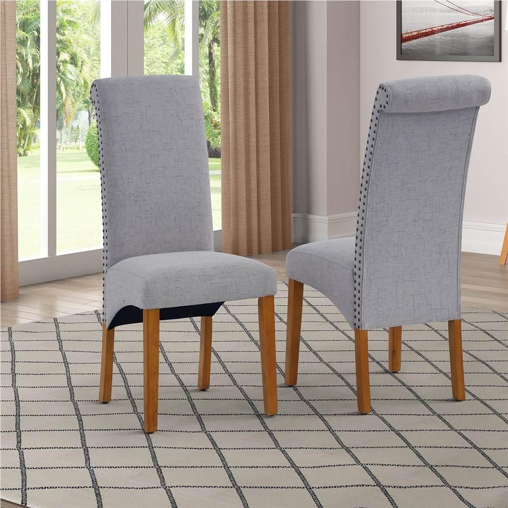 Ensemble de 2 chaises de salle à manger rembourrées en lin, avec dossier et pieds en caoutchouc, pour cuisine, salon, chambre à coucher, bureau, café - Gris clair