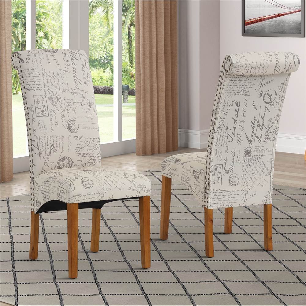 Ensemble de 2 chaises de salle à manger rembourrées en lin, avec dossier et pieds en caoutchouc, pour cuisine, salon, chambre à coucher, bureau, café - Word