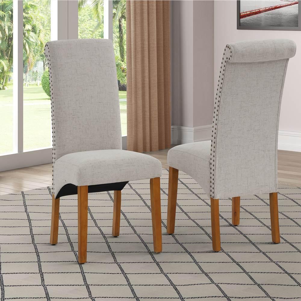 Ensemble de 2 chaises de salle à manger rembourrées en lin, avec dossier et pieds en caoutchouc, pour cuisine, salon, chambre à coucher, bureau, café - Beige