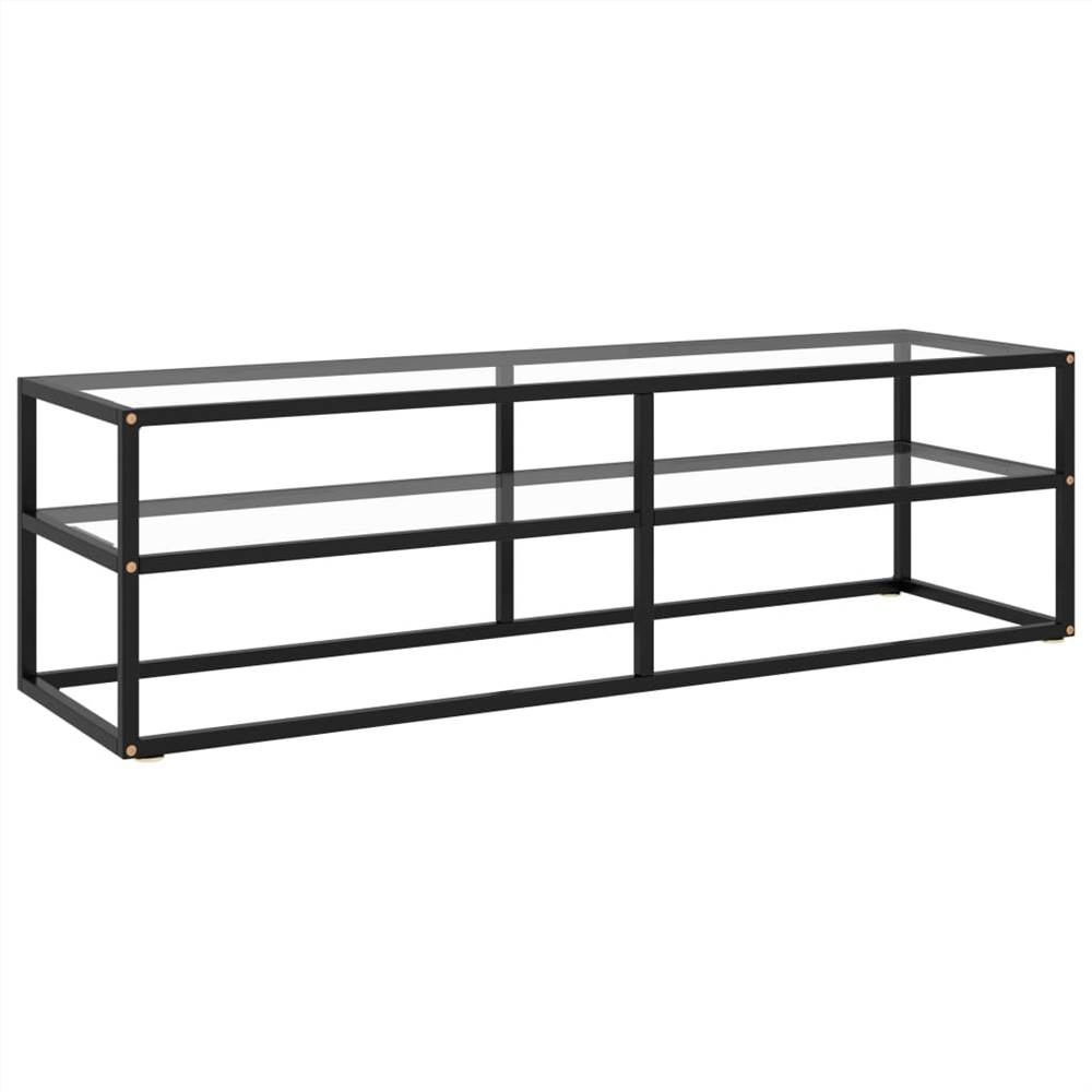 TV Cabinet Black with Tempered Glass 140x40x40 cm