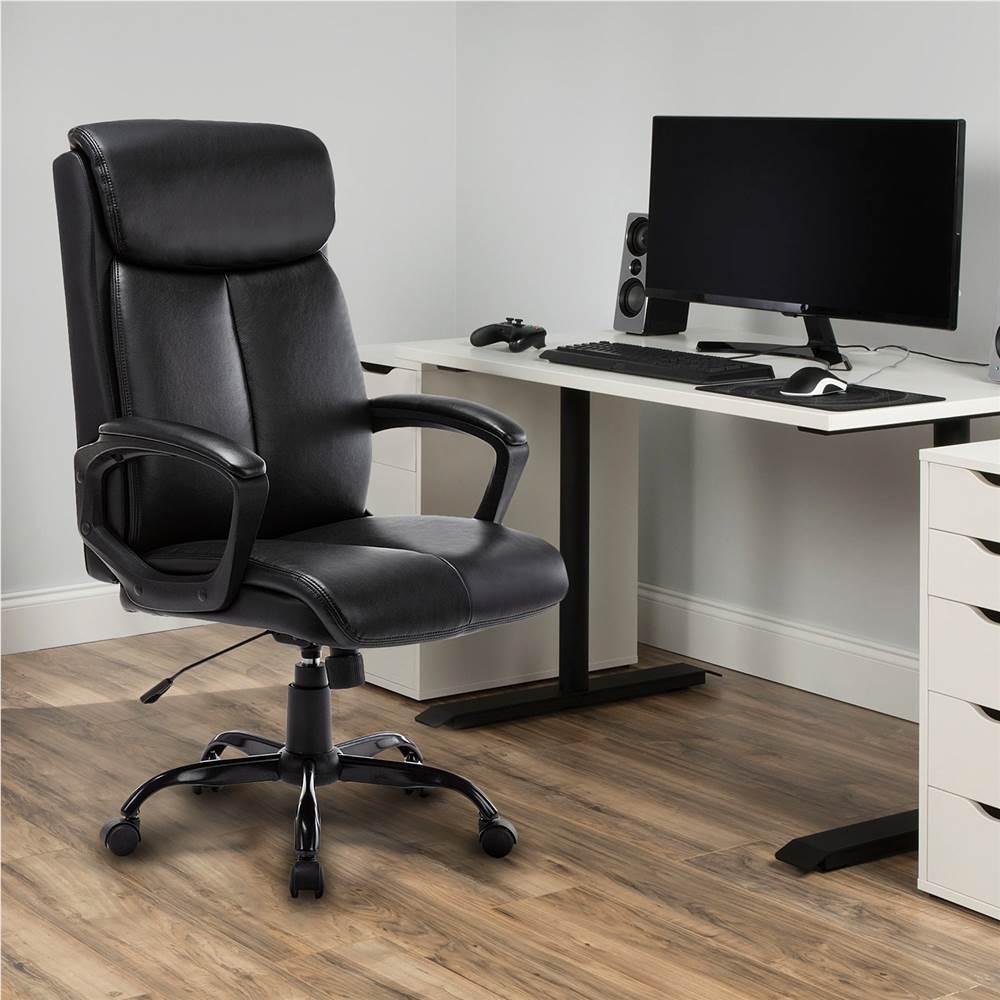 Chaise de jeu rotative en cuir PU pour bureau à domicile réglable en hauteur avec dossier ergonomique et roulettes - noir