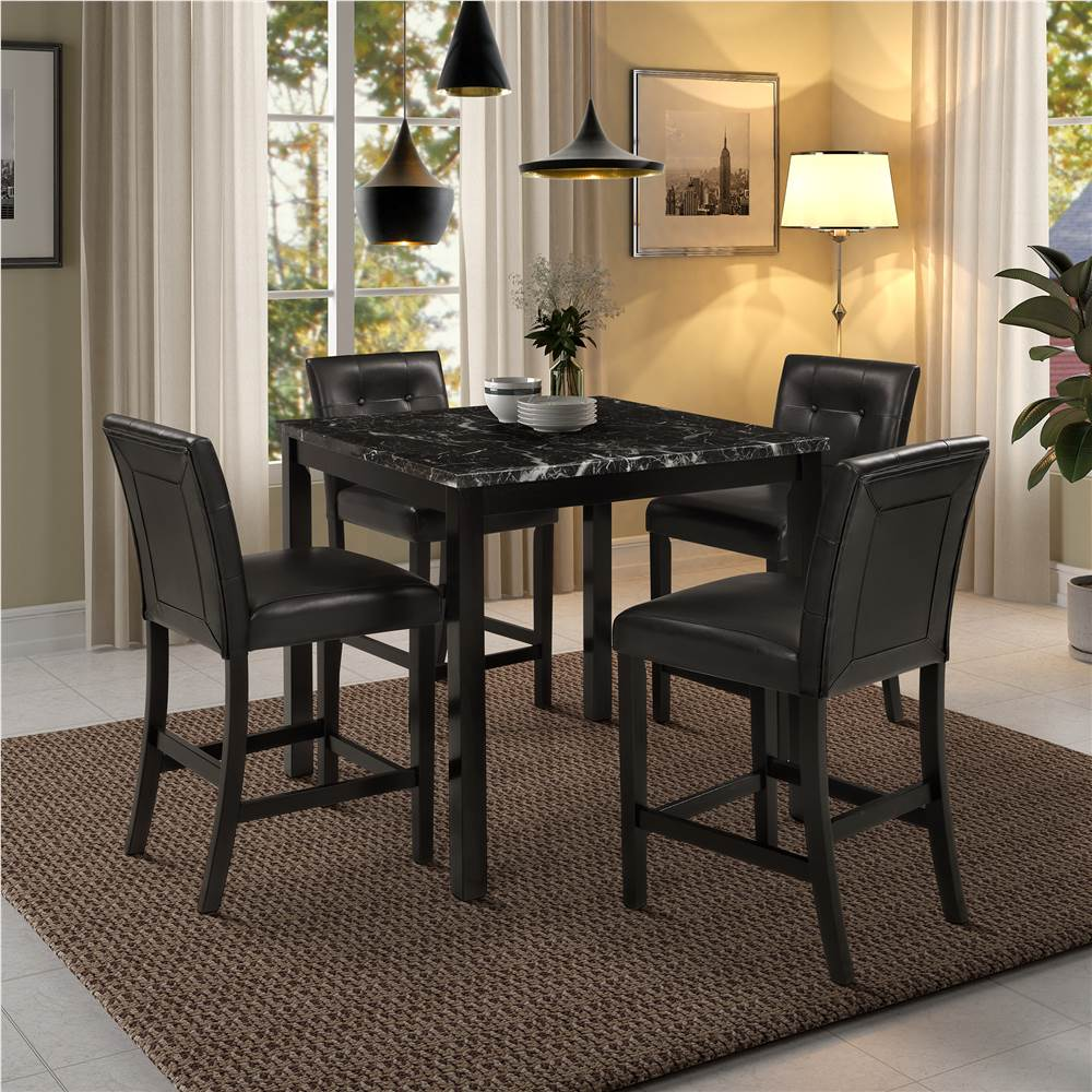 TOPMAX 9 Pieces Dining Set, Including 9 Marble Table and 9 Leather Chairs,  for Kitchen, Living Room, Cafe   Black