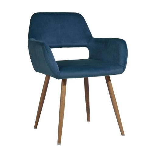 Chaise de salle à manger rembourrée en tissu de velours avec dossier incurvé et pieds en métal, pour cuisine, salon, taverne, bureau, café - Bleu
