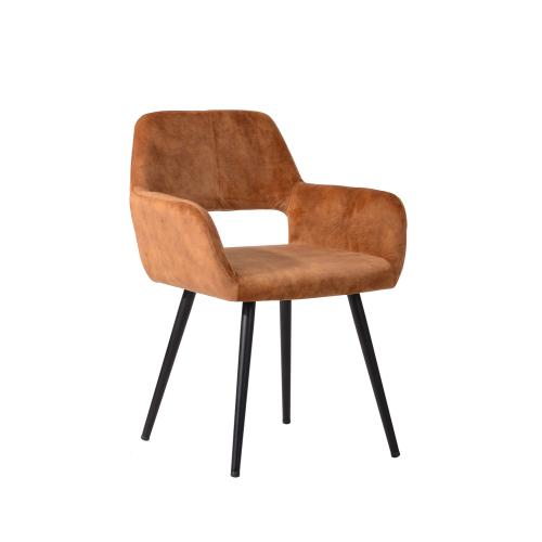 Chaise de salle à manger rembourrée en tissu de velours avec dossier incurvé et pieds en métal, pour cuisine, salon, taverne, bureau, café - Gingembre
