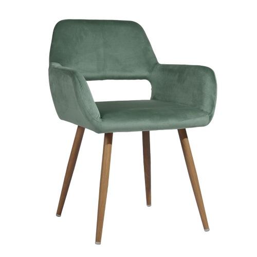 Chaise de salle à manger rembourrée en tissu de velours avec dossier incurvé et pieds en métal, pour cuisine, salon, taverne, bureau, café - vert