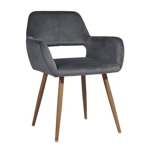Chaise de salle à manger rembourrée en tissu de velours avec dossier incurvé et pieds en métal, pour cuisine, salon, taverne, bureau, café - Gris