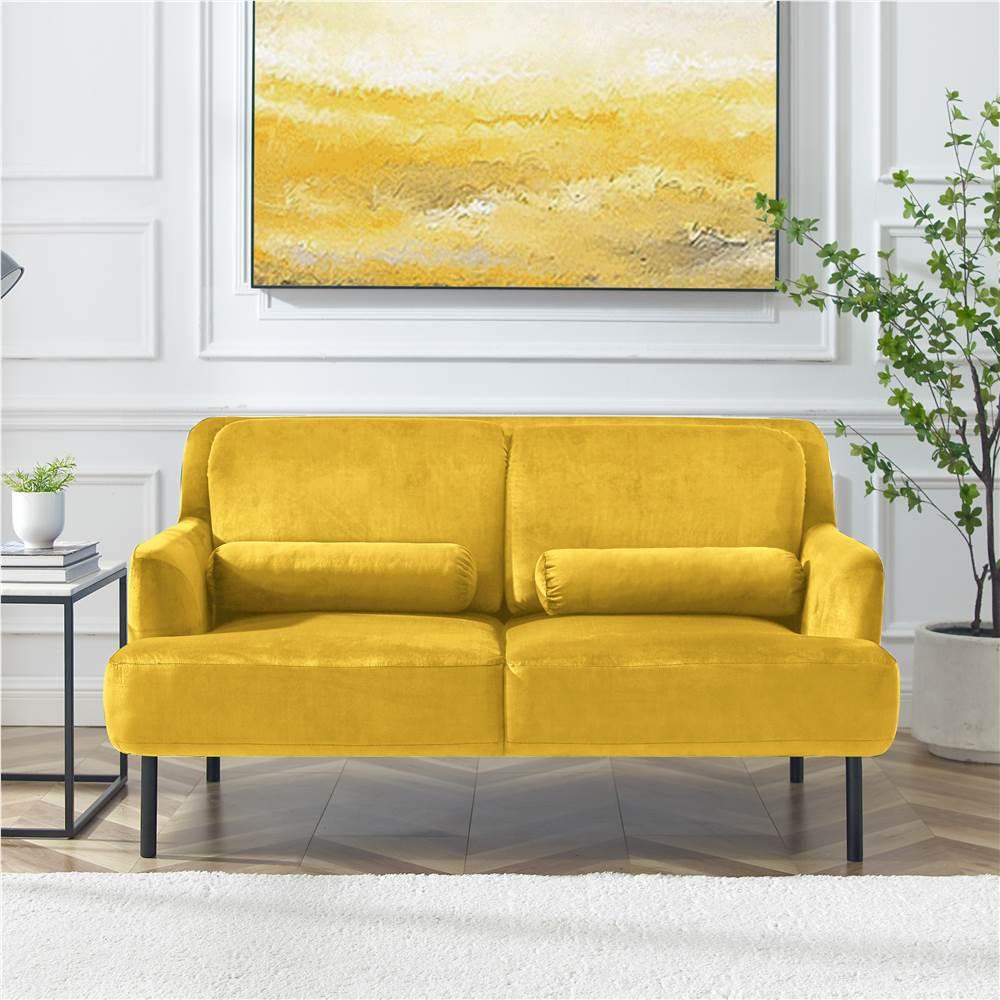 Canapé 2 places rembourré en velours avec pieds et dossier en fer haut pour bureau, appartement, chambre, salle de séjour - Jaune