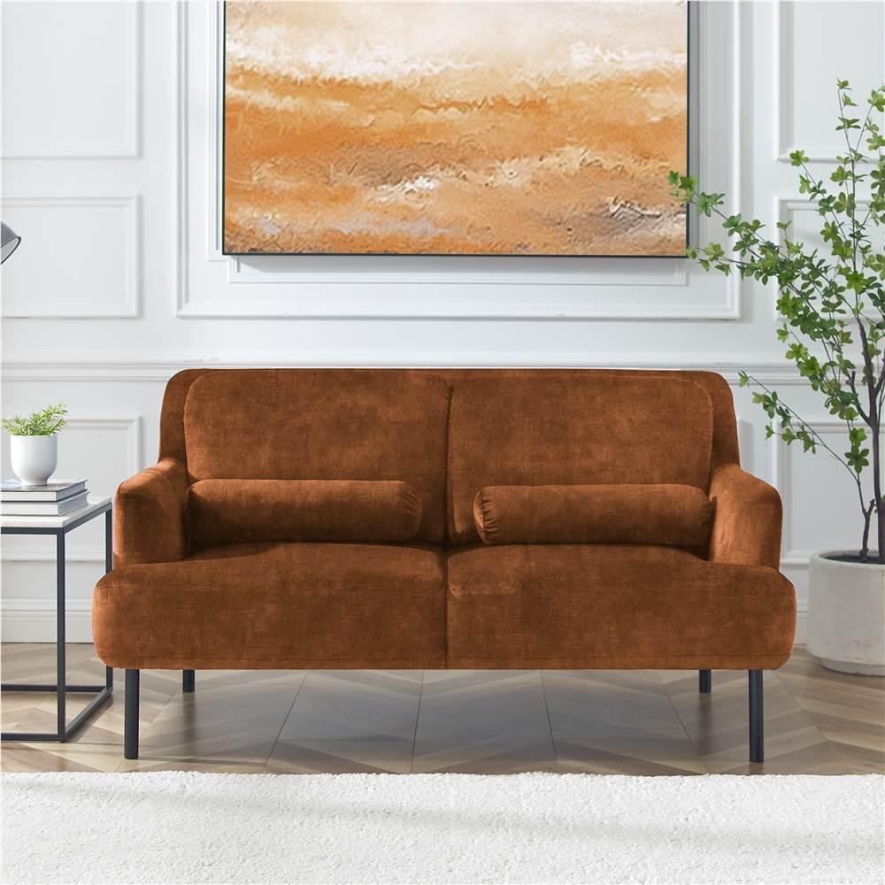 Canapé 2 places rembourré en velours avec pieds et dossier en fer haut pour bureau, appartement, chambre à coucher, salle de séjour - Chameau