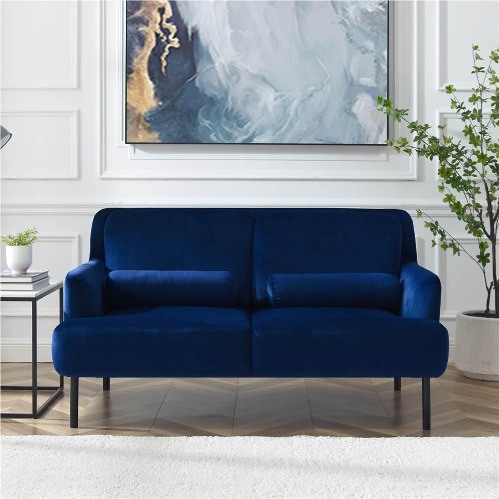 Canapé 2 places rembourré en velours avec pieds et dossier en fer haut pour bureau, appartement, chambre, salon - Bleu