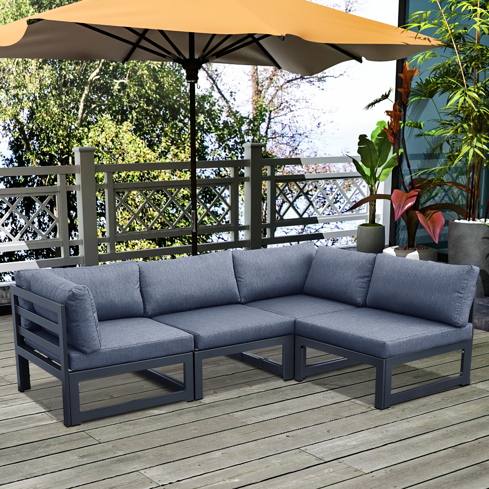 Outdoor 4-Seat Aluminum Frame Modular Sofa, Removable Seat Cushion, for Courtyard, Balcony, Living Room - Gray