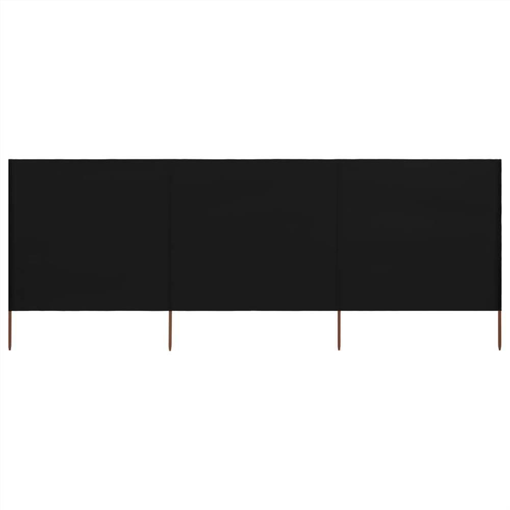 3-panel Wind Screen Fabric 400x120 cm Black