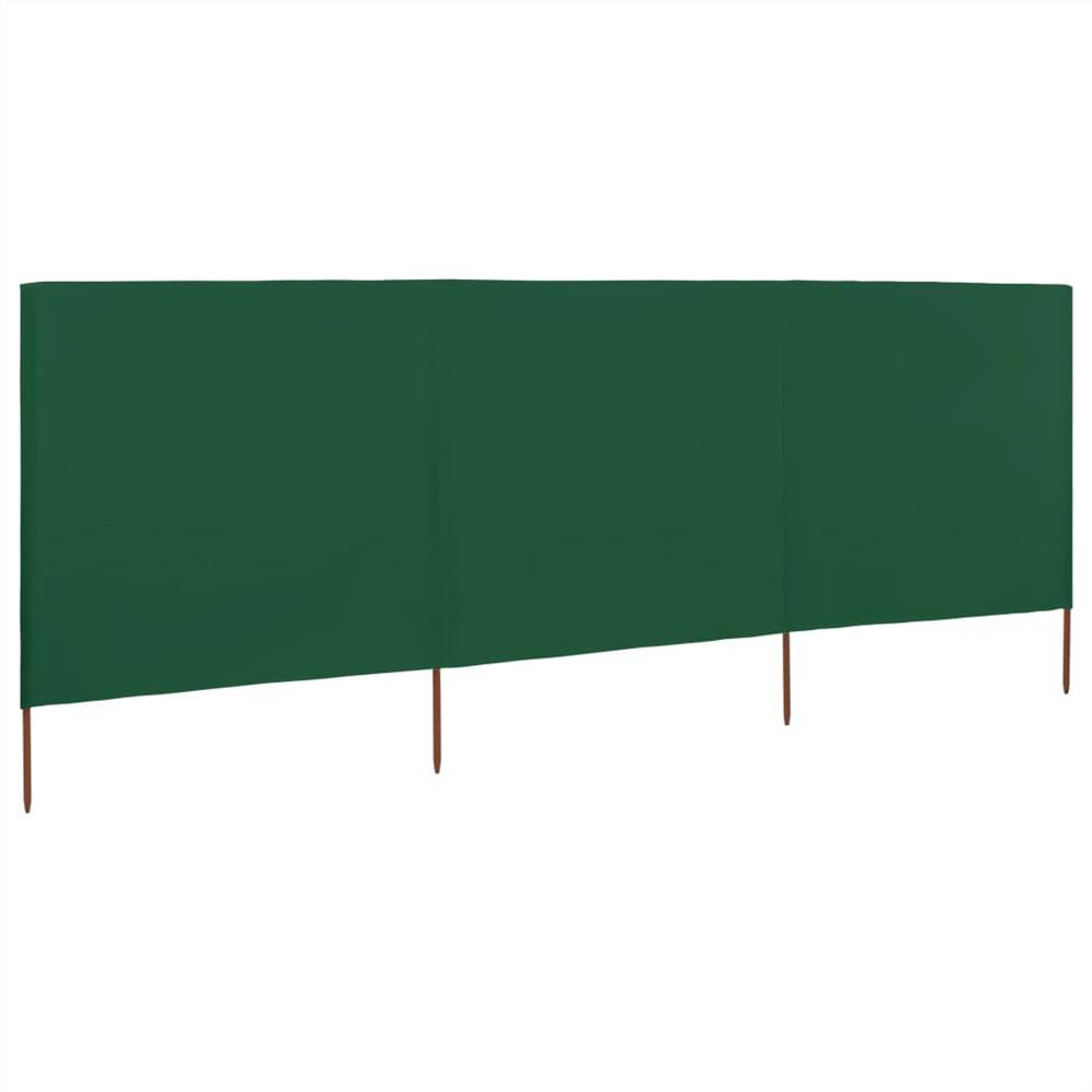 3-panel Wind Screen Fabric 400x120 cm Green