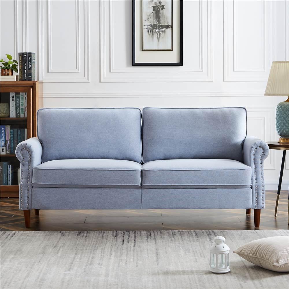 Canapé 3 places rembourré en lin avec dossier et accoudoirs pour salon, chambre, bureau, appartement - Gris