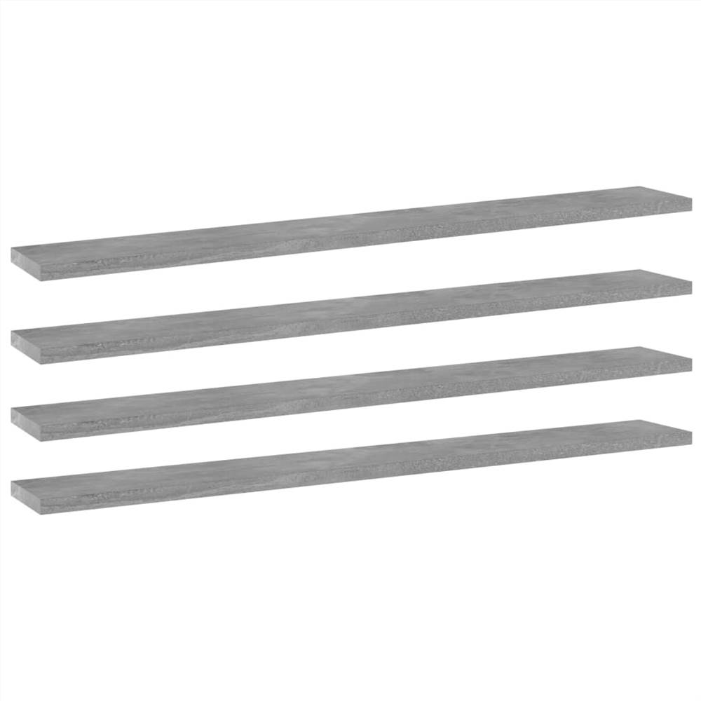 Bookshelf Boards 4 pcs Concrete Grey 80x10x1.5 cm Chipboard