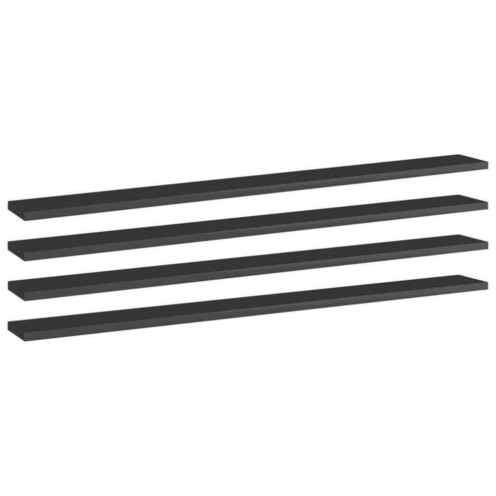 Planches de bibliothèque 4 pcs Noir brillant 100x10x1.5 cm Aggloméré