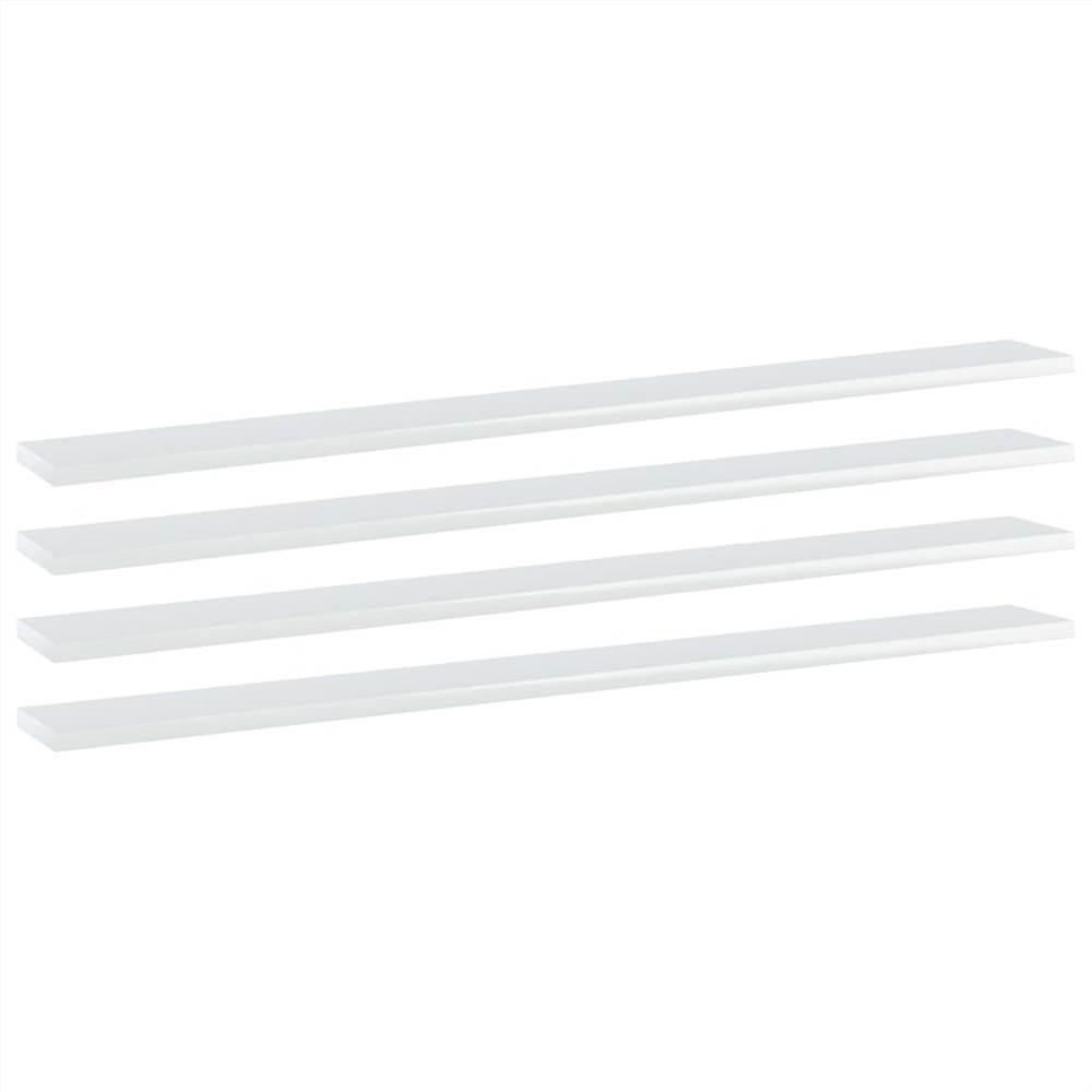 Planches de bibliothèque 4 pcs Blanc brillant 100x10x1.5 cm Aggloméré