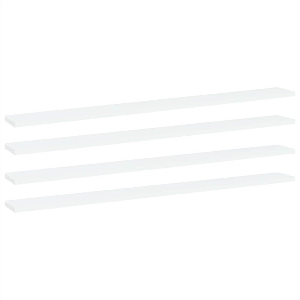 Planches étagères 4 pcs Blanc 100x10x1.5 cm Aggloméré