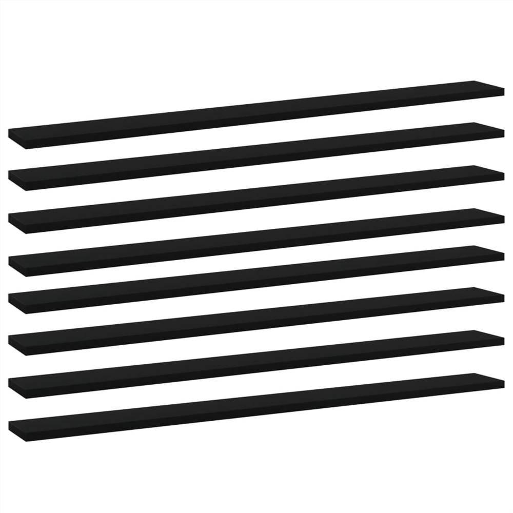 Planches de bibliothèque 8 pcs Noir 100x10x1.5 cm Aggloméré