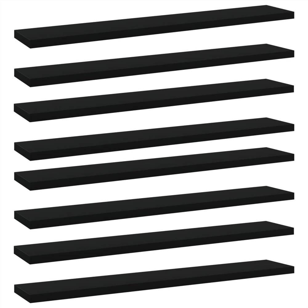 Planches de bibliothèque 8 pcs Noir 60x10x1.5 cm Aggloméré
